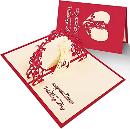 Carte D Invitation Avec Enveloppe Pour Mariage Invitations D Anniversaire Invitation Faire Part Avec Enveloppes Carte Pop Up 3d Avec Felicitations Rouge 1 Pieces Amazon Fr Fournitures De Bureau