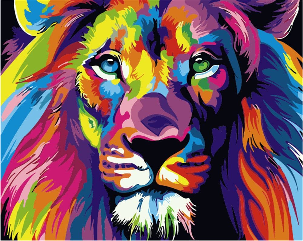 Amazon Com Komking Paintworks Paint By Number Kit For Adults Kids Beginner Diy Canvas Painting Numbers Home Decoration Colorful Lion 16x20inch