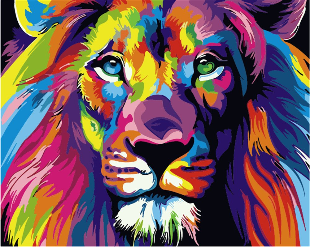 DIY Paint by Numbers Kit for Adults Kids Beginner with Frame, Komking DIY Canvas Painting by Numbers for Home Decoration, Colorful Lion 16x20inch by Komking
