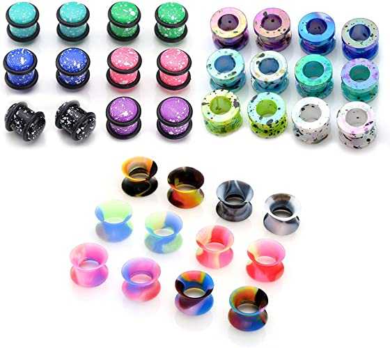 PAIR 0g Acrylic Stretched Ears Body Piercing Jewelry Cupcake Plugs 8mm Pink Sweet No Flare Ear Gauges Girly Cute Wedding Work Hiders