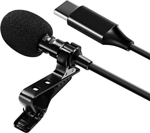 "Professional USB-C Lavalier Lapel Microphone Omnidirectional Mic with Metal Clip for Recording YouTube Vlogging Video Conference Call Compatible with Cell Phone Tablet PC Computer 60"" Cord by Insten"