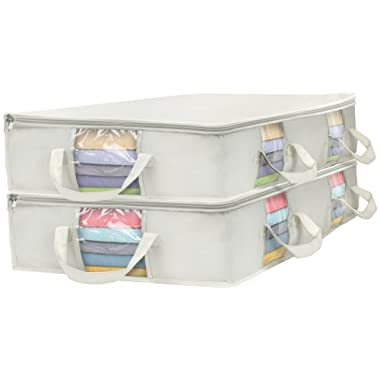 Sorbus Foldable Storage Bag Organizers, Large Clear Window & Carry Handles, Great for Clothes, Blankets, Closets, Bedrooms, and More (Rectangle Storage Bag - 2 Pack, Beige)