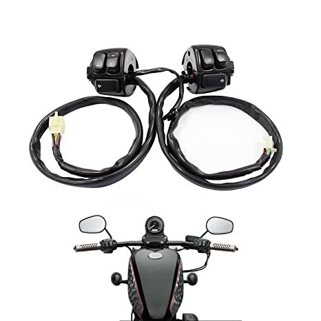 amazon com: parts camp replacement 1 pair handlebar control switches+wiring  harness for harley: automotive
