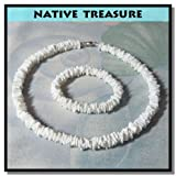 "Amazon Price History for:Native Treasure - 16"" Polished White Rose Clam Chips Puka Shell Necklace + Matching Bracelet Set"