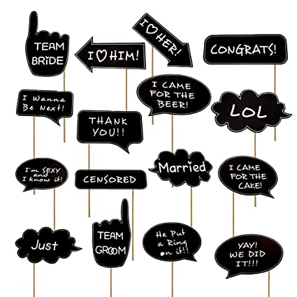 df9621900 Image Unavailable. Image not available for. Color  Photo Booth Props Funny  for Wedding Bridal Shower ...
