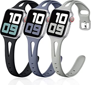 Getino Sport Band Compatible with Apple Watch 40mm 38mm Series 6 5 4 3 2 1 SE Bands for iWatch Women Men Soft Slim Silicone Wristband, 3 Pack, Blue Gray, Black, Pebble Gray