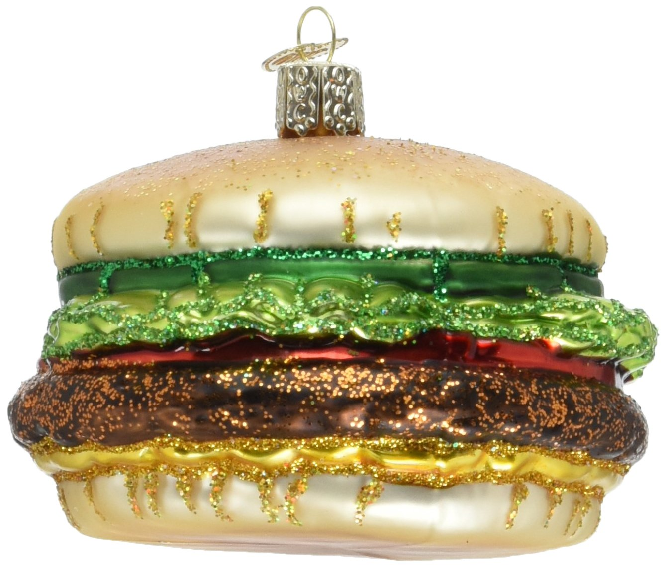 Old World Christmas Ornaments: Cheeseburger Glass Blown Ornaments for Christmas Tree (32065)