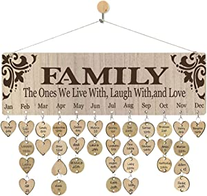 WISIEW Mother Gifts Family Birthday Reminder Calendar Hanging Board Important Dates Tracker Plaque Handmade Creative Birthday Gifts for Home Wall Decor
