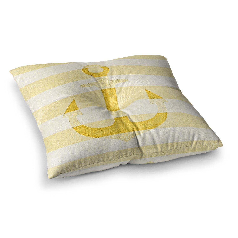 Kess InHouse Monika Strigel Stone Vintage Anchor Yellow Mustard White 23 x 23 Square Floor Pillow