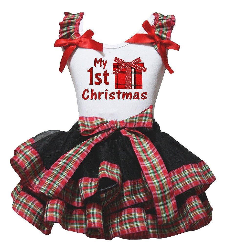Petitebella Xmas Gift Box White Shirt Checkered Ribbon Black Petal Skirt Nb-8y