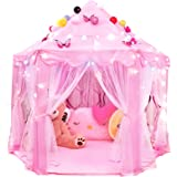 """RISEMART Princess Castle Play Tent for Girls - Includes LED Lights and 3D Butterfly Sticker, (55""""x 53"""") Large Space Playhouse"""