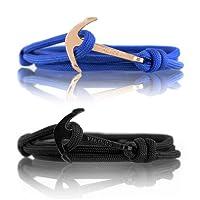 VIKINGS Nylon Partner-Armbänder 2er Set mit Edelstahl Anker für Paare