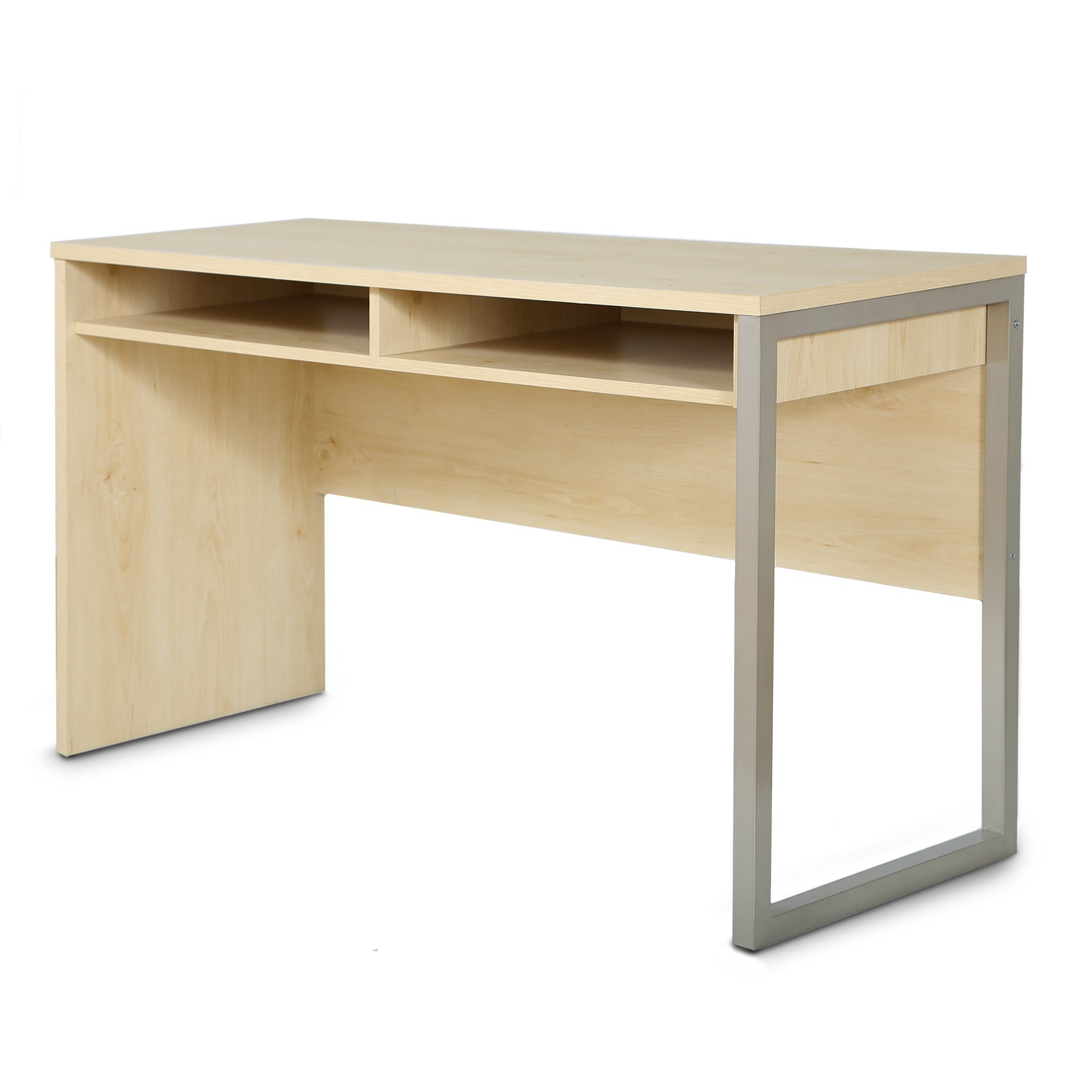 Interface Desk – Sleek Metal Finish – Open Storage for Laptop and Tablet – Natural Maple - by South Shore