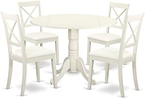 East West Furniture DLBO5-LWH-LC Dublin Set, Linen White