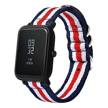 zolimx Moda Lona Reloj Banda Correa con Hebilla Conector para Xiaomi Huami Amazfit: Amazon.es: Deportes y aire libre