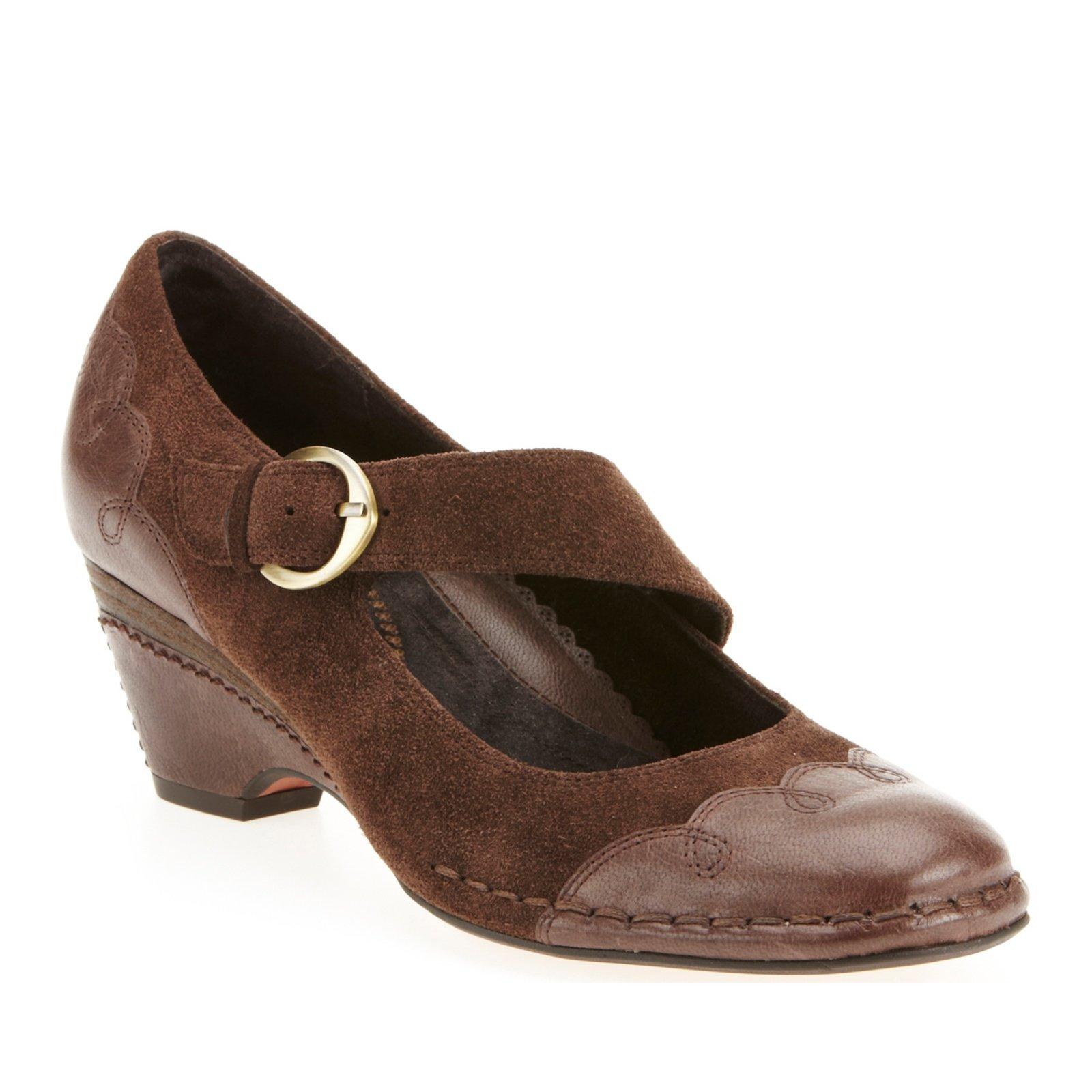 Antia Shoes Women's Renee Mary Janes,Mocha Vintage Full Grain/Cow Suede,8 W US
