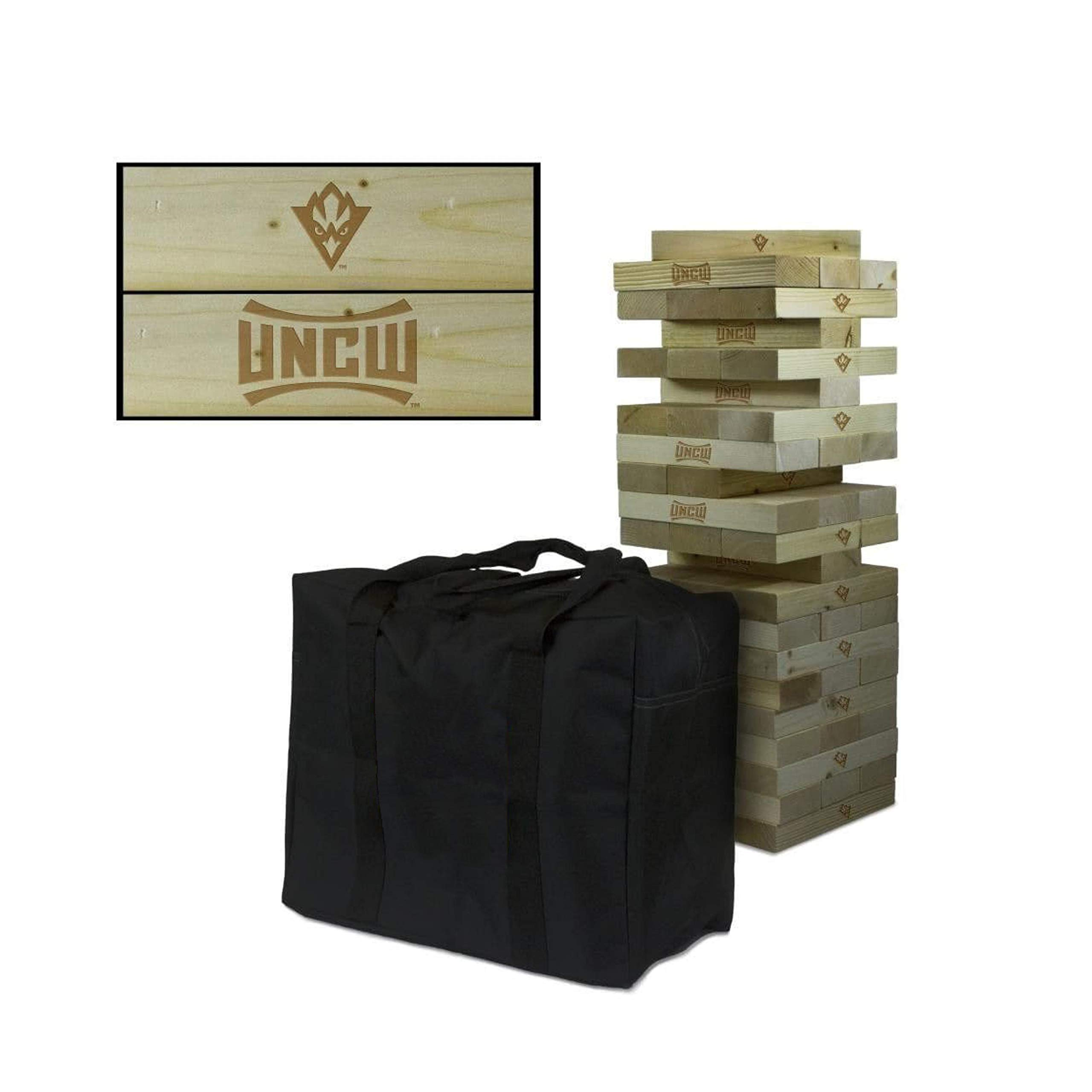 Victory Tailgate NCAA Giant Wooden Tumble Tower Game Set - North Carolina Wilmington Seahawks by Victory Tailgate