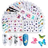 Butterfly Flower Nail Art Stickers for Women Finger Decorations Flowers Nail Decals, 30 Sheets Beauty Accessories for…