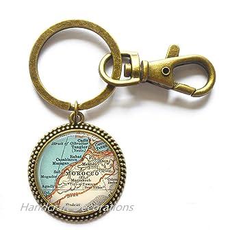 Amazon.com: Encantador Llavero, mapa de Marruecos Llavero ...
