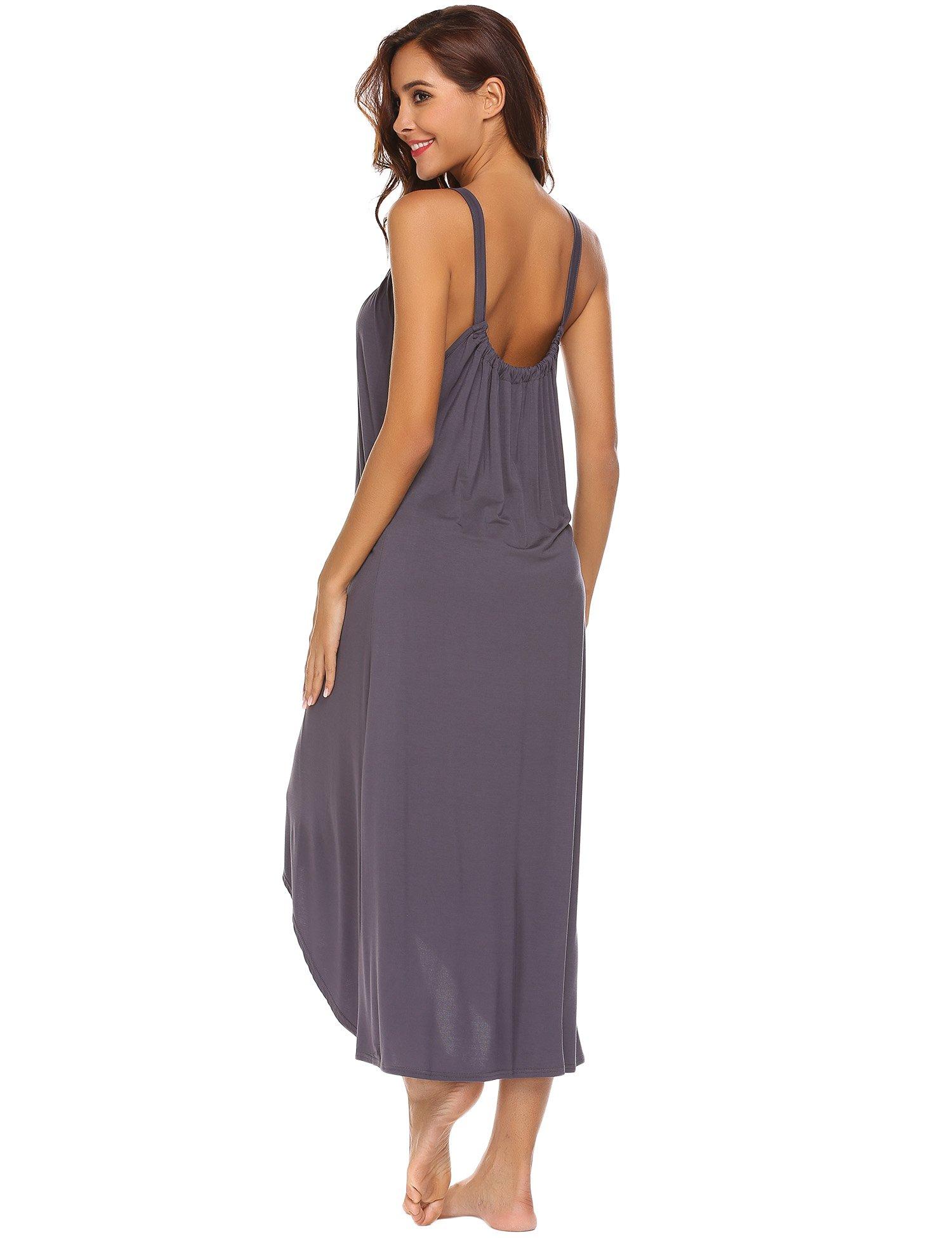 Ekouaer Womens Sleeveless Long Nightgown Summer Slip Night Dress Cotton Sleepshirt Chemise,A-dark Grey_6696,Small by Ekouaer (Image #5)