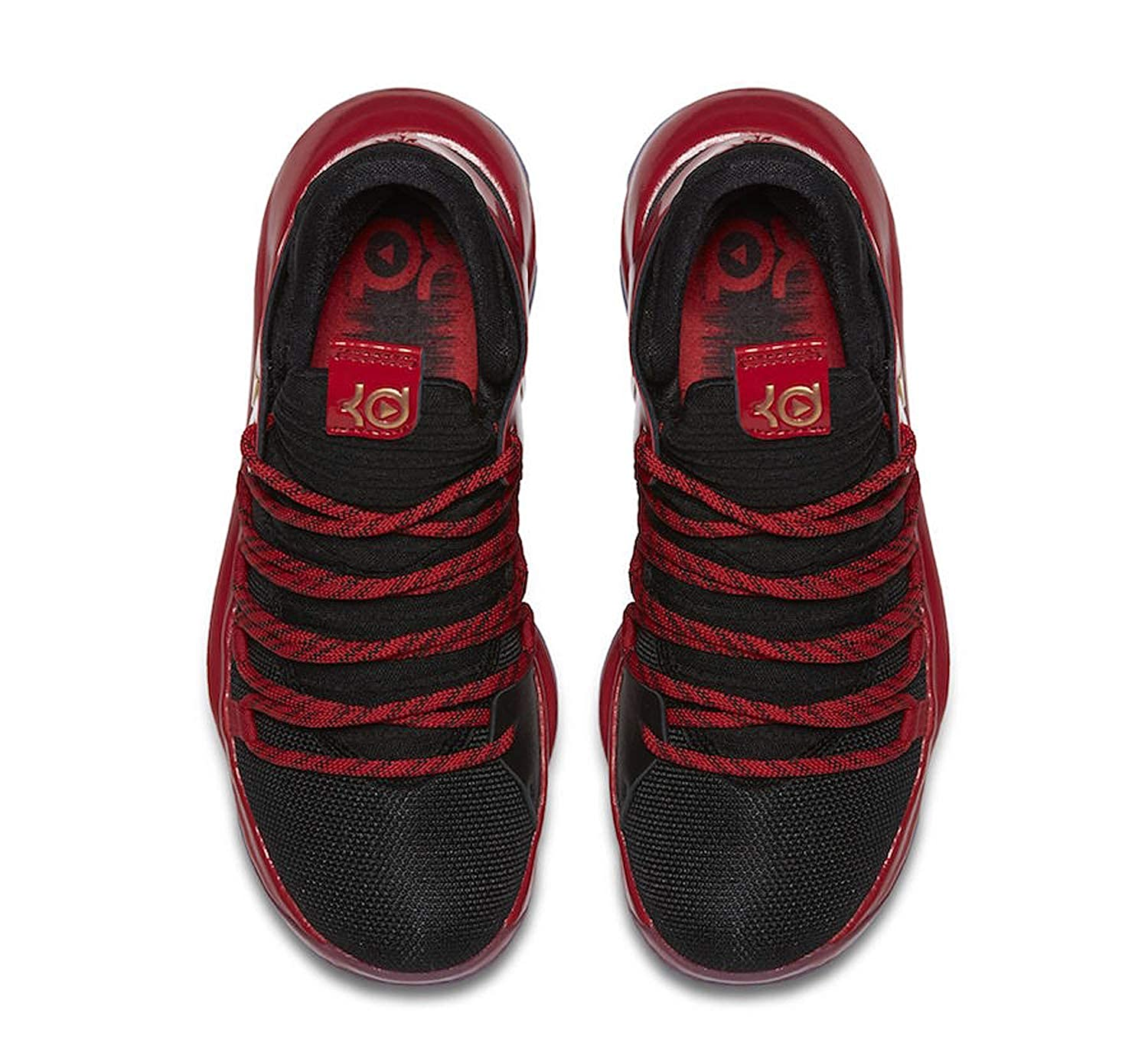 official photos da43e 67f99 Amazon.com   Nike Zoom KD10 Kids Basketball Shoes (4 M US Big Kid, Black Metallic  Gold University Red)   Basketball