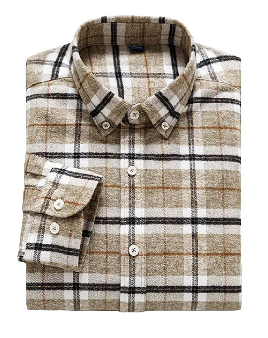 YUNY Men Long-Sleeve Thicken Cardi Flannel Outwear Plaid Dress Shirts AS5 M