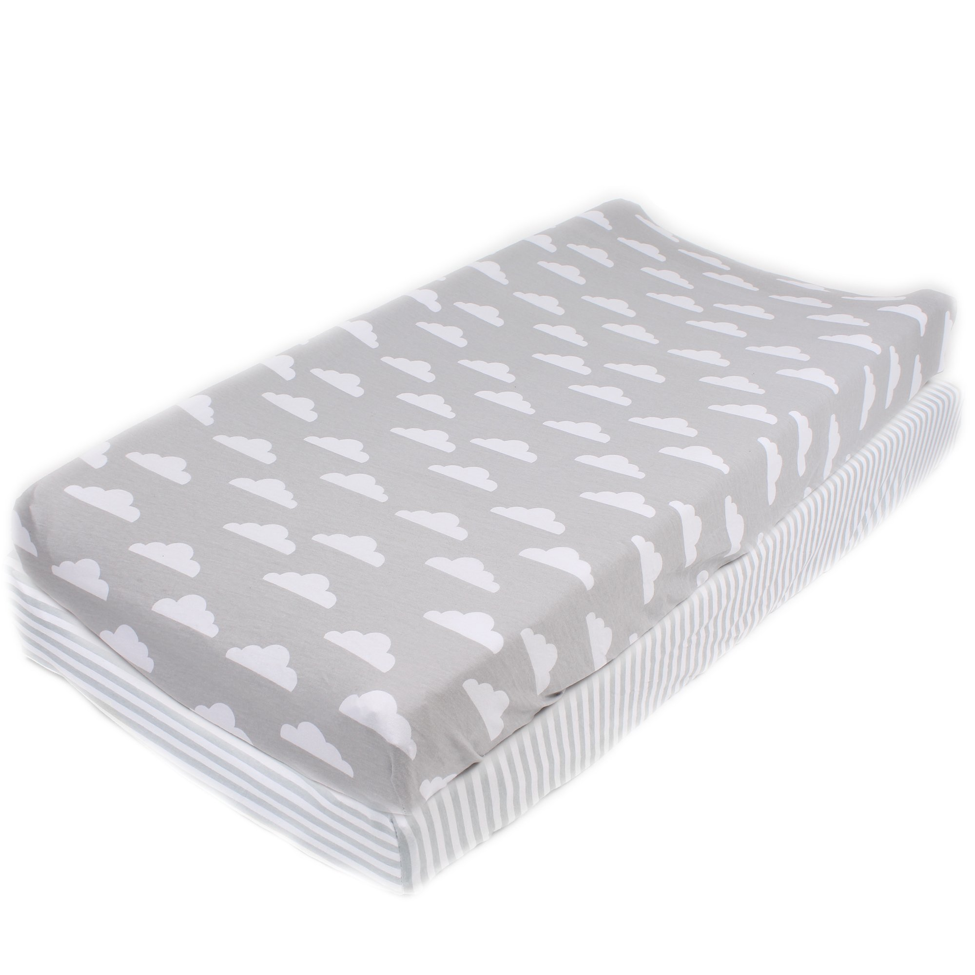 Cotton Diaper Changing Pad Cover 2 Pack Stripes & Clouds by Mumby