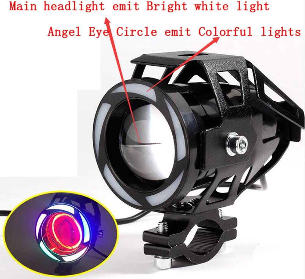 2pcs Super Bright Motorcycle Fog Light Universal Headlight Work Light Driving Spot Lamp 1pcs ON//OFF Switch 3000LM 125W U7 LED Chip With Colorful Demon Angel Eyes Halo Ring