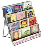 """Set of 2 -Black Wire Display Rack, Four-Tiered Magazine Stand with 2-1/2""""d Pockets - Perfect for CDS!"""