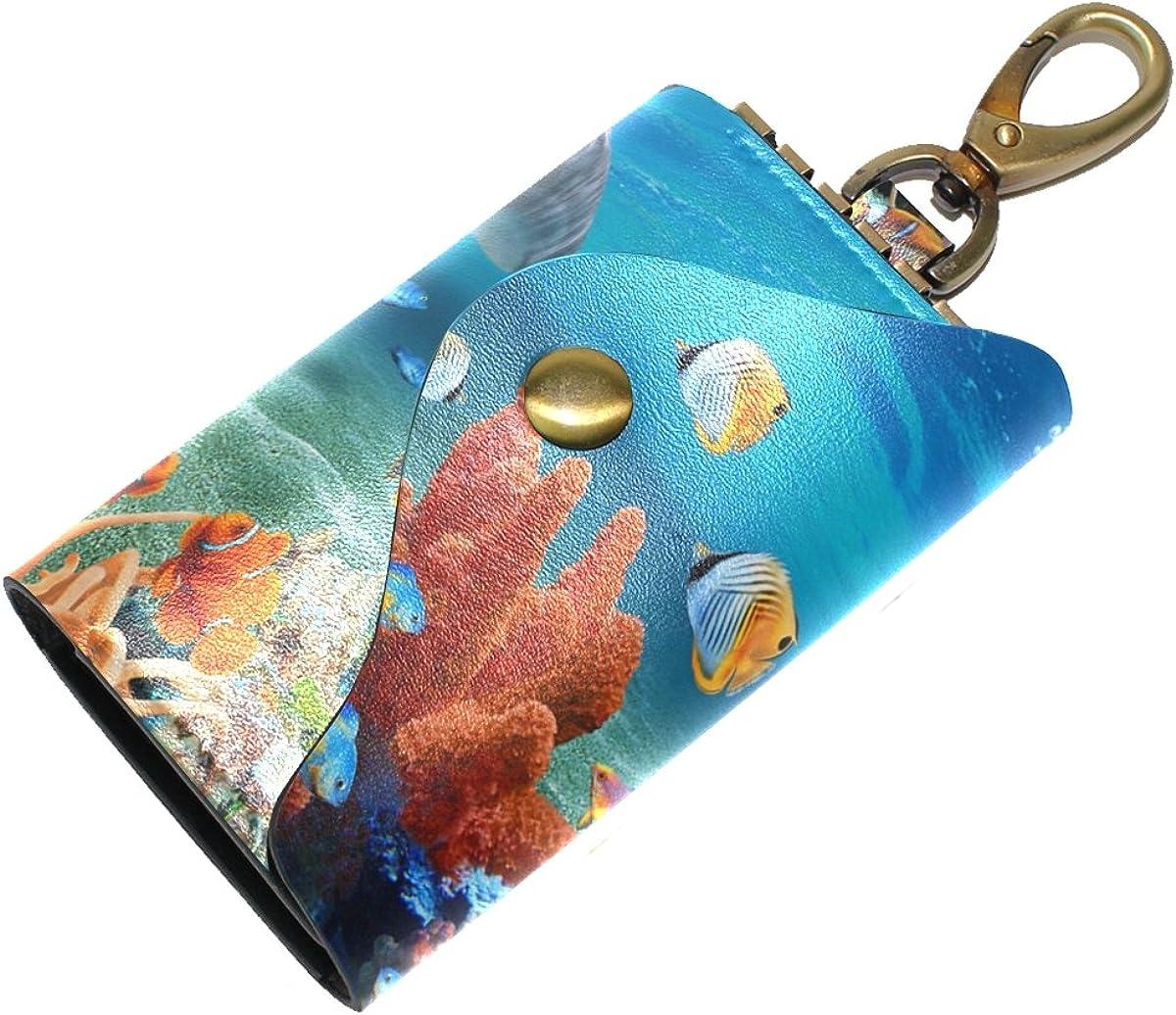 DEYYA Love Dolphins Leather Key Case Wallets Unisex Keychain Key Holder with 6 Hooks Snap Closure