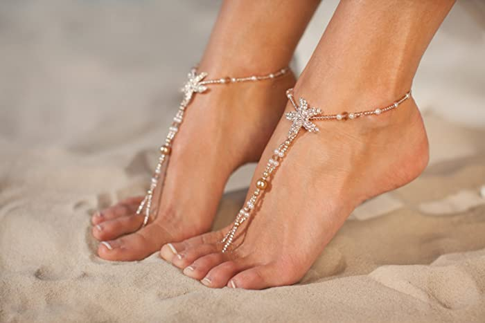 Amazoncom Rose gold barefoot sandals Beach wedding foot jewelry