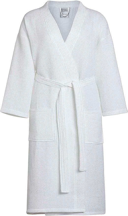 QCS Albornoz de baño 100% algodón, Unisex, Color Blanco, Talla única: Amazon.es: Hogar