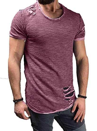 f7f2cca3 Men's Short Sleeve Crew Neck Slim Fit Fitness T-Shirt Tops with Ripped  Holes (