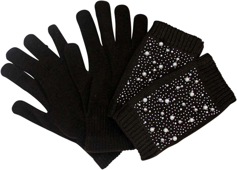 Rhinestone Pearl Knit Arm...