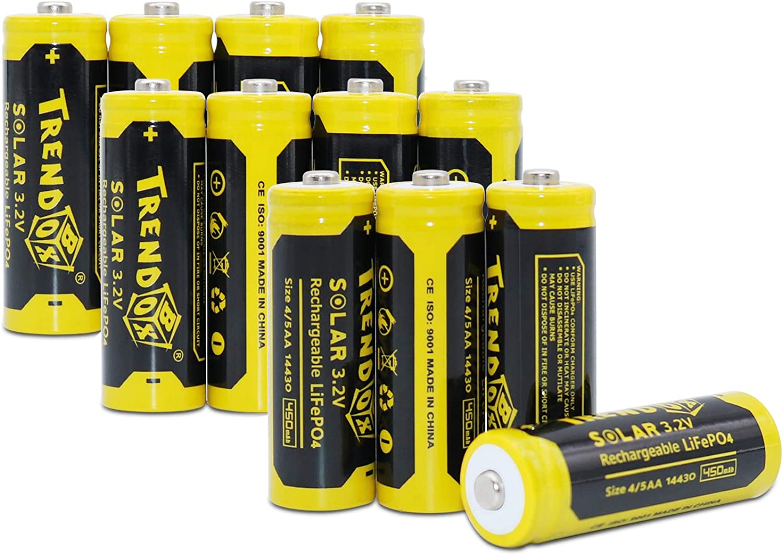 TRENDBOX 14430 3.2V 450mAh Battery LiFePo4 Rechargeable Solar Batteries for Outdoor Garden Light 12 Pack Yellow