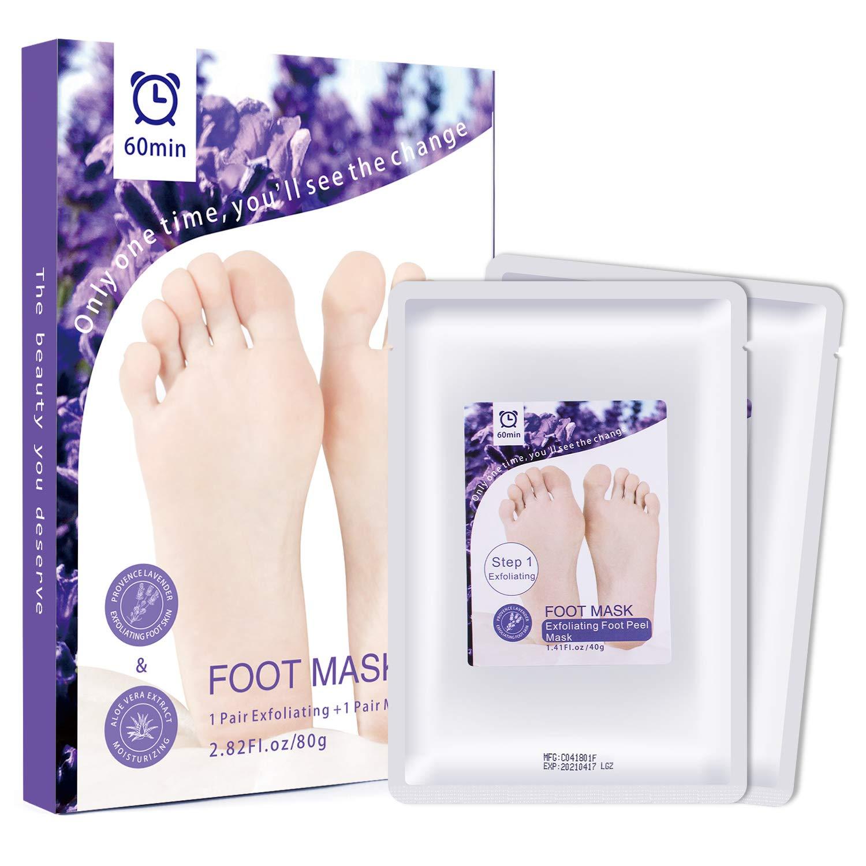 MayBeau Foot Peel Mask,2 Pairs Exfoliating and Moisturizing Foot Mask Set,Peel Off Callus and Dead Skin,Moisturizing and Whitening Feet Skin (Lavender and Aloe)
