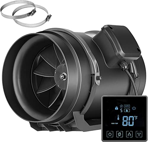 VIVOSUN 8 Inch Inline Duct Fan with Temperature Controller Ventilation Exhaust Fan for Grow Tent