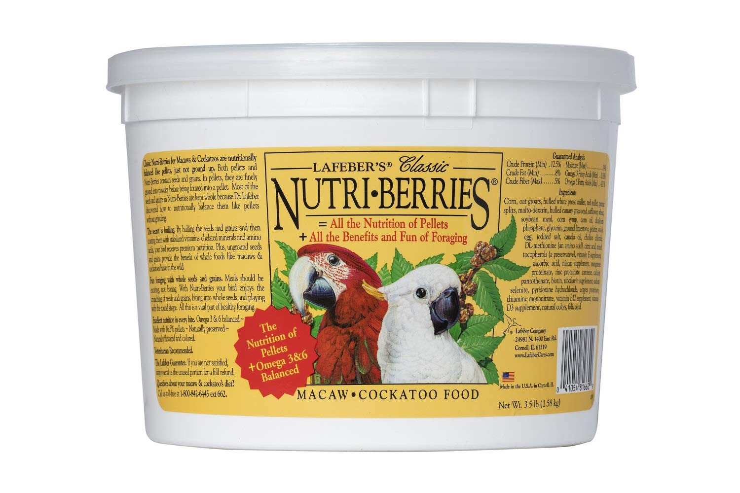 Lafeber's Classic Nutri-Berries for Macaw / Cockatoo 3.5 lb. Tub by LAFEBER'S