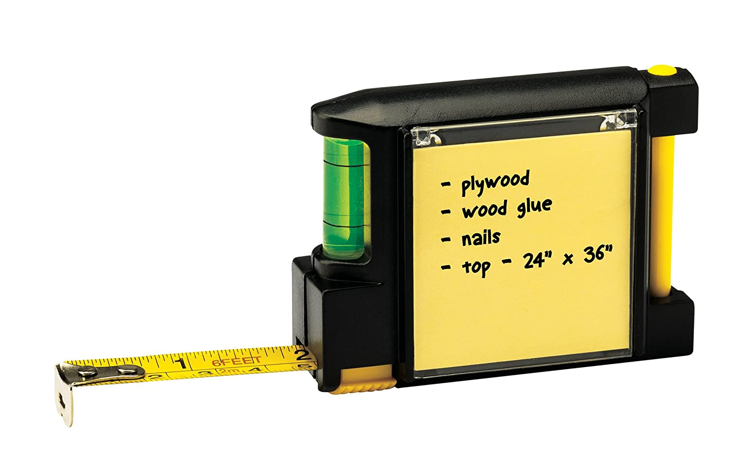 Compact Retractable Tape Measure with Notepad and Level The Paragon 66809