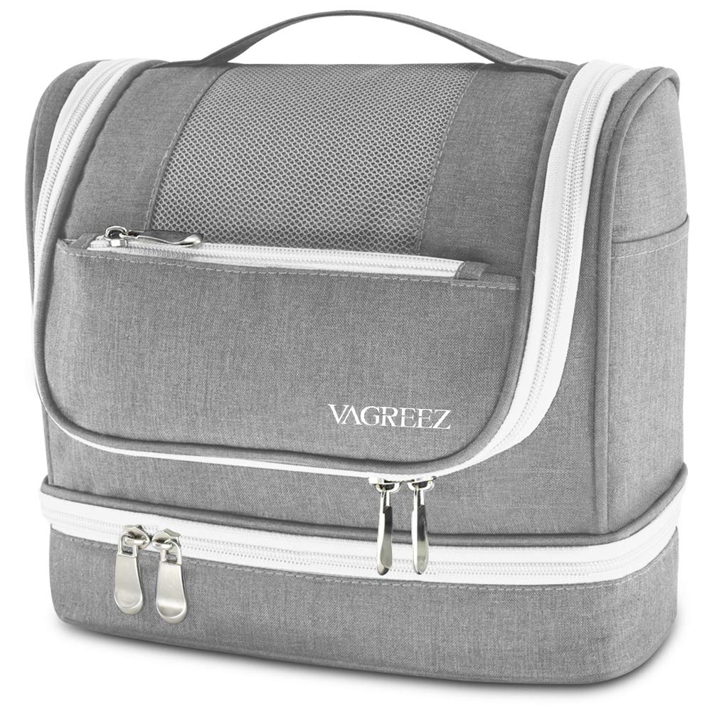 VAGREEZ Toiletry Bag, Hanging Travel Toiletry Bag with Heavy-duty Zippers Waterproof Toiletry Bag for Women or Men (Grey)