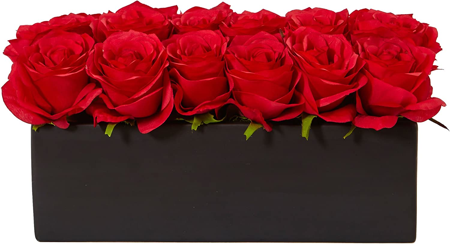 Nearly Natural Dozen Silk Roses in Rectangular Planter, Red