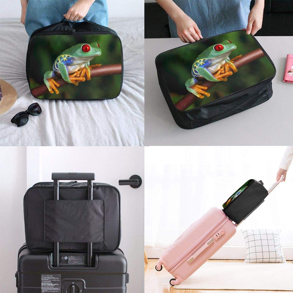 Travel Luggage Duffle Bag Lightweight Portable Handbag Green Frogs Large Capacity Waterproof Foldable Storage Tote