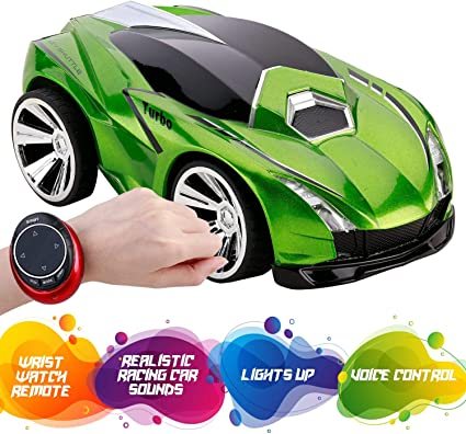 Remote Control Car With Voice Activation Hand And Voice Activated Wrist Rc Smart Watch Rechargeable Race Car With Usb Cable For Kids Super Action Light Effects Green Vehicles
