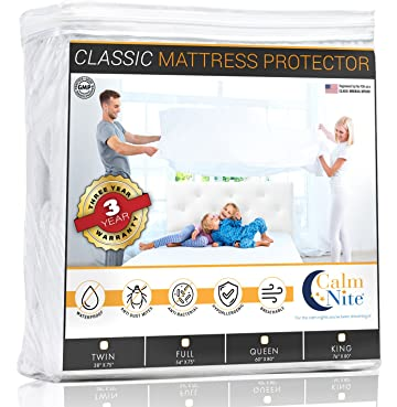 CALM NITE Full Size Mattress Pad Protector - Waterproof & Hypoallergenic Cover, Vinyl Free Topper