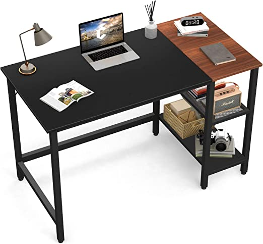 Black//Brown Writing Computer Desk Simple Study Desk Notebook Table for Home Office Metal Frame Easy Assembly with 2 Storage Shelves