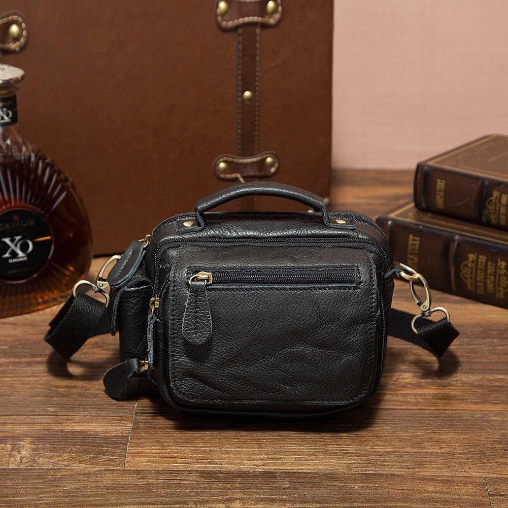 YTTY Extra Lässig Leder Taschen Männer Schulter Messenger Tasche Männlichen Außentaschen Telefon Paket, schwarz
