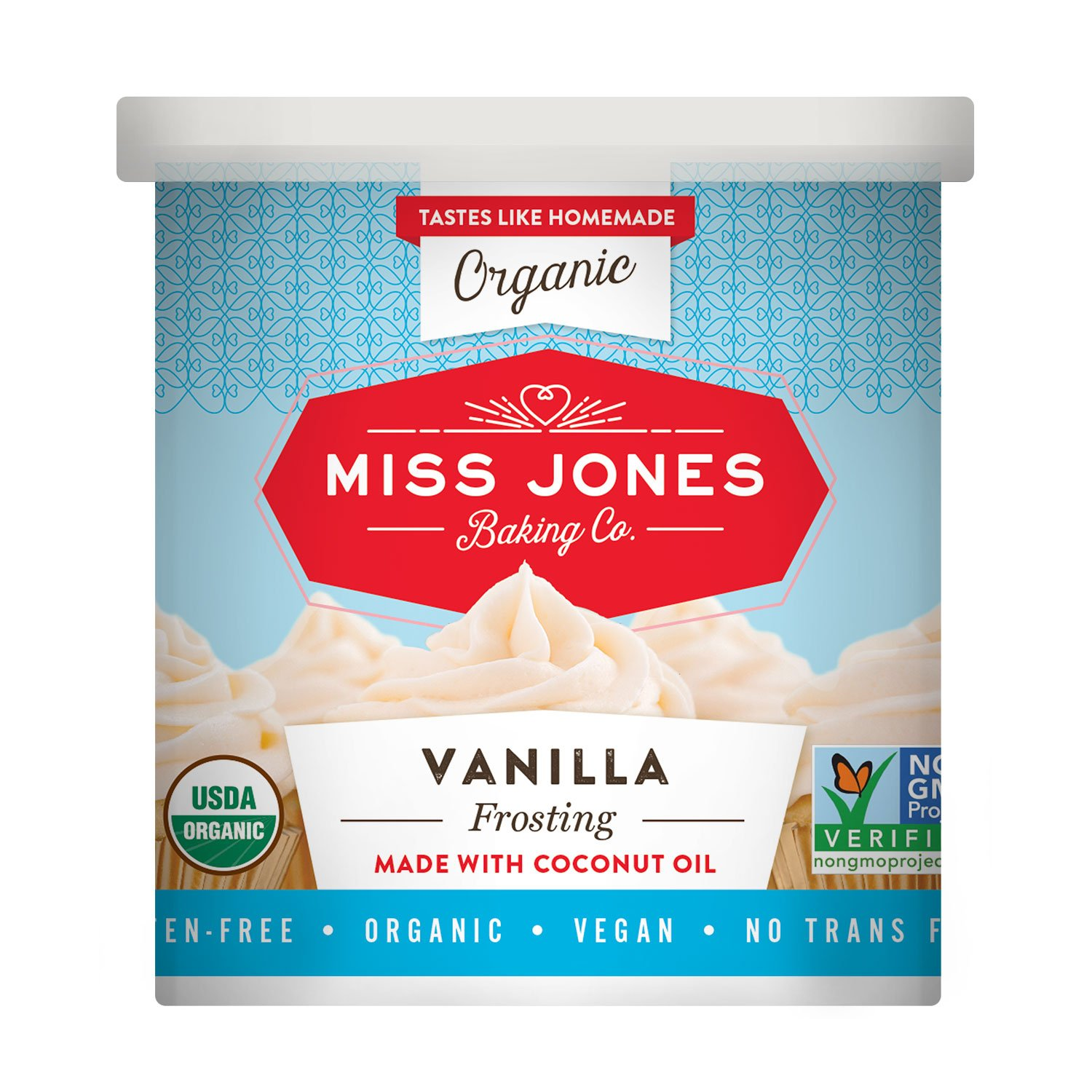 Miss Jones Baking Organic Buttercream Frosting, Perfect for Icing and Decorating, Vegan-Friendly: Vanilla (Pack of 3)