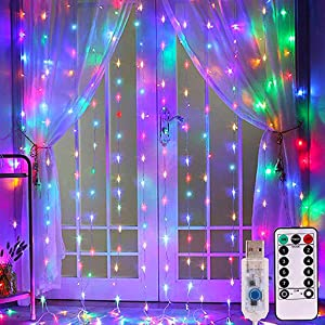 Dienalls Fairy Lights, Twinkle String Lights for Teen Girls Bedroom Living Room Decor, Lighted Curtains Waterproof 300LED Remote Control 8 Modes, 9.8ftx9.8ft Mounting Hook Colorful