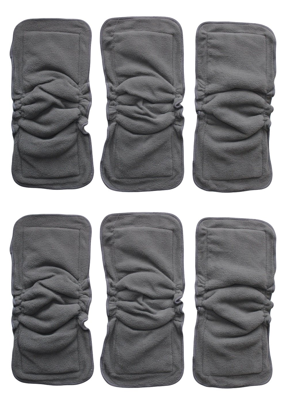 See Diapers 6 Pack Bamboo Charcoal Inserts or Doublers with Gussets for Cloth Diapers 14'' X 5'' by See Diapers