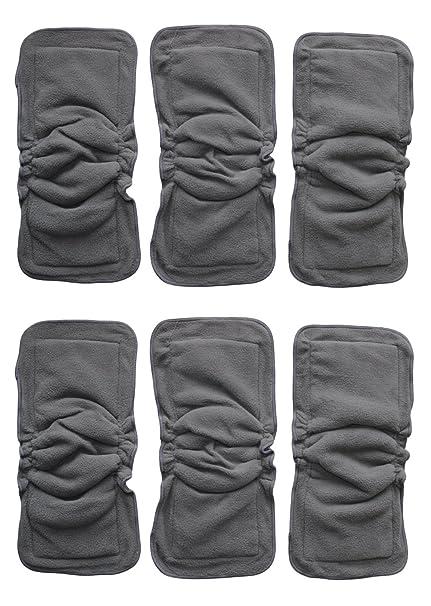 6 Pack carbón de bambú Insertos o doublers con refuerzos para bebé pañales de tela grande